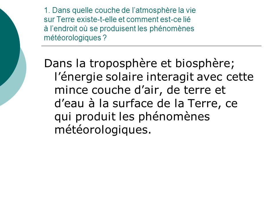 1. Dans quelle couche de l'atmosphère la vie sur Terre existe-t-elle et comment est-ce lié à l'endroit où se produisent les phénomènes météorologiques