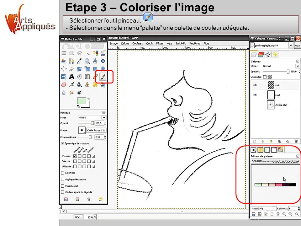Etape 3 – Coloriser l'image