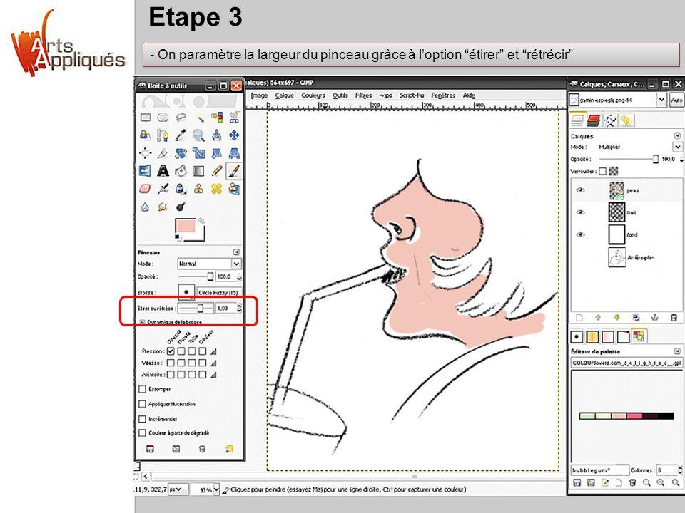 Etape 3 On paramètre la largeur du pinceau grâce à l'option étirer et rétrécir