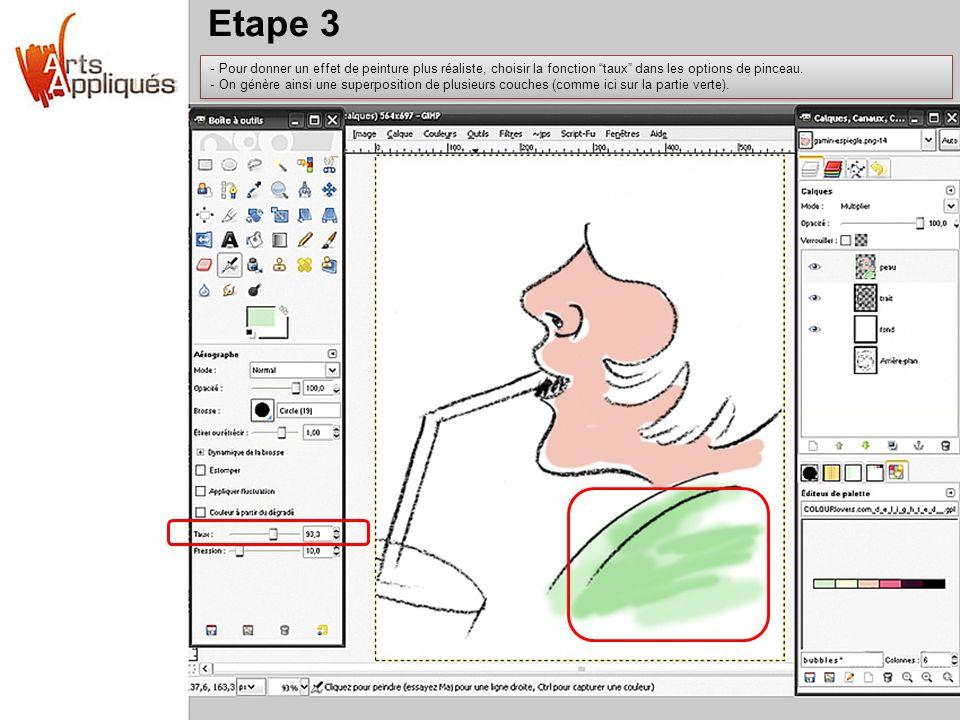 Etape 3 Pour donner un effet de peinture plus réaliste, choisir la fonction taux dans les options de pinceau.