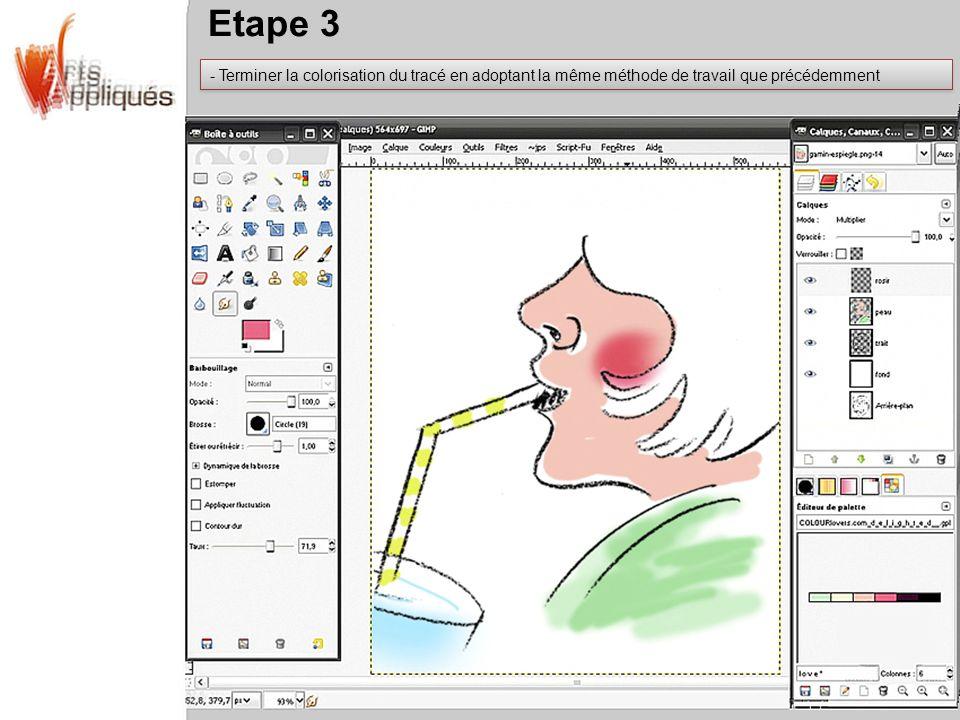 Etape 3 Terminer la colorisation du tracé en adoptant la même méthode de travail que précédemment