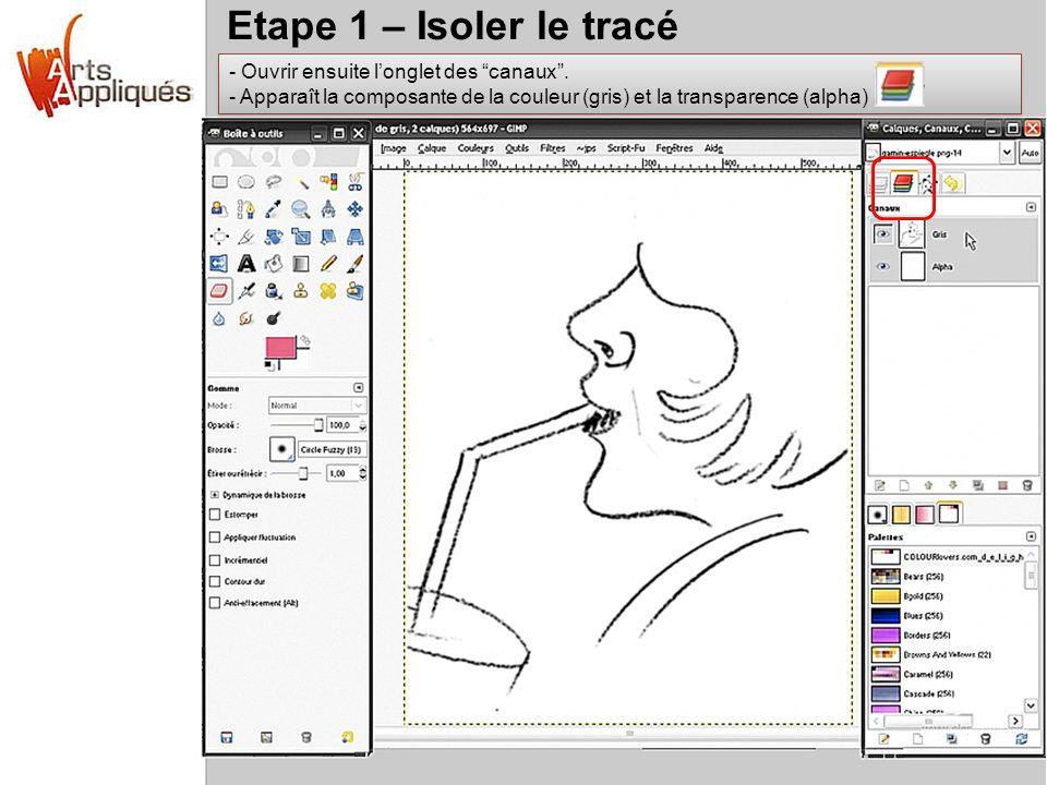 Etape 1 – Isoler le tracé Ouvrir ensuite l'onglet des canaux .