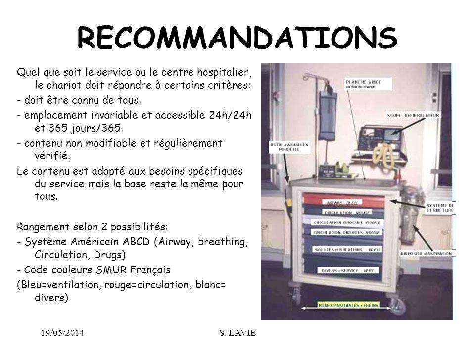RECOMMANDATIONS Quel que soit le service ou le centre hospitalier, le chariot doit répondre à certains critères: