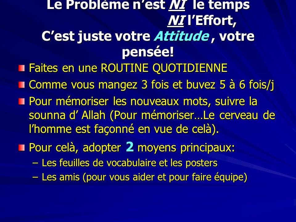 Le Problème n'est NI le temps NI l'Effort, C'est juste votre Attitude , votre pensée!