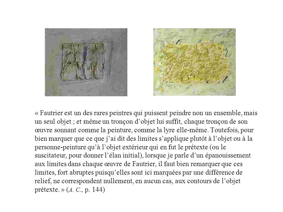 « Fautrier est un des rares peintres qui puissent peindre non un ensemble, mais un seul objet ; et même un tronçon d'objet lui suffit, chaque tronçon de son œuvre sonnant comme la peinture, comme la lyre elle-même.