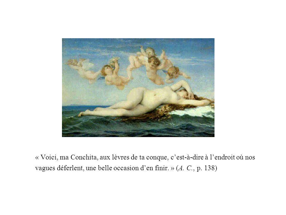 « Voici, ma Conchita, aux lèvres de ta conque, c'est-à-dire à l'endroit où nos vagues déferlent, une belle occasion d'en finir. » (A.