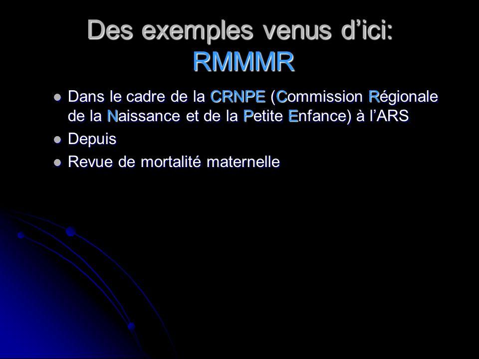 Des exemples venus d'ici: RMMMR