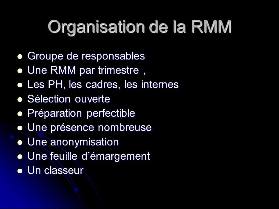 Organisation de la RMM Groupe de responsables Une RMM par trimestre ,