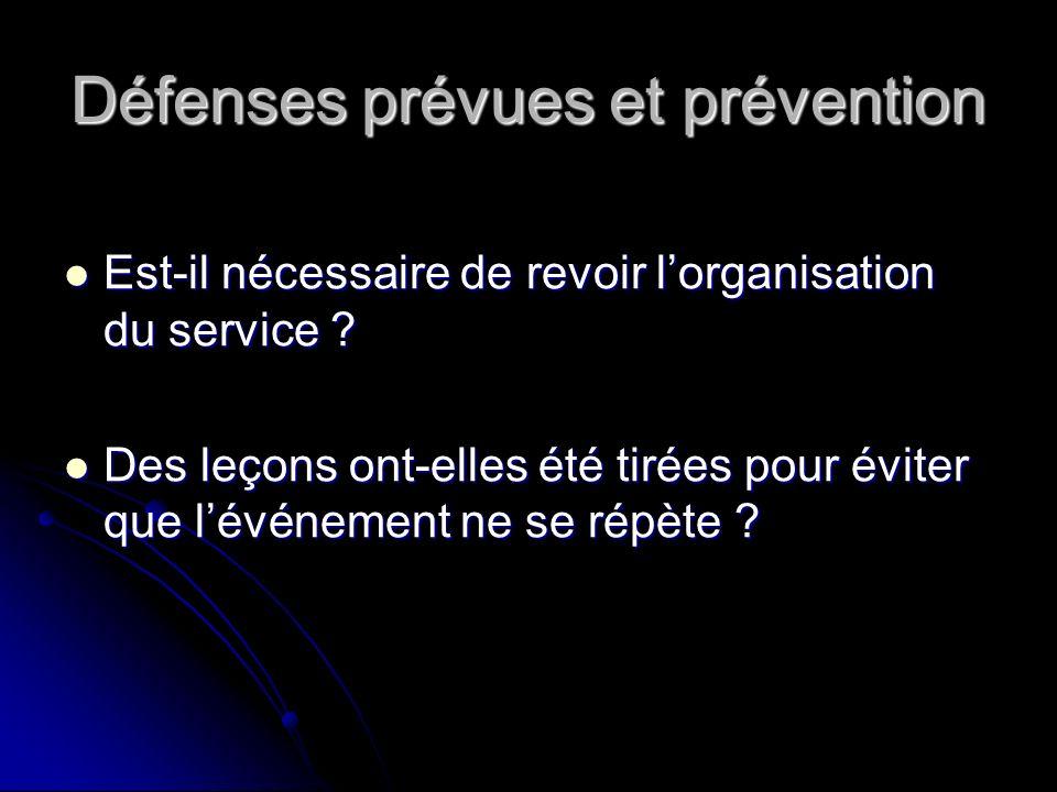 Défenses prévues et prévention