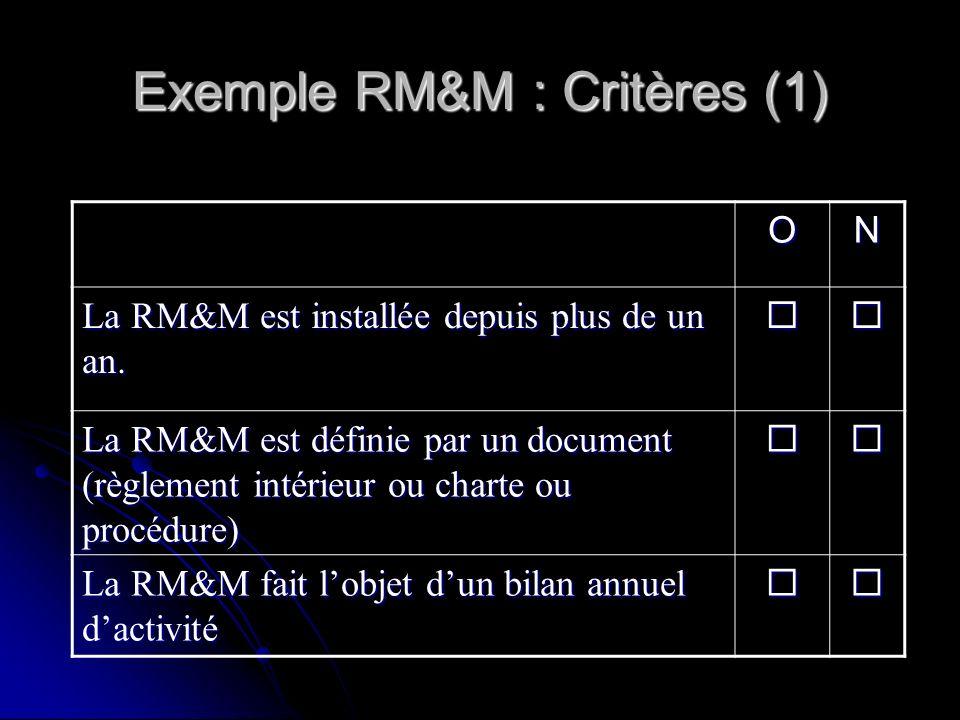 Exemple RM&M : Critères (1)