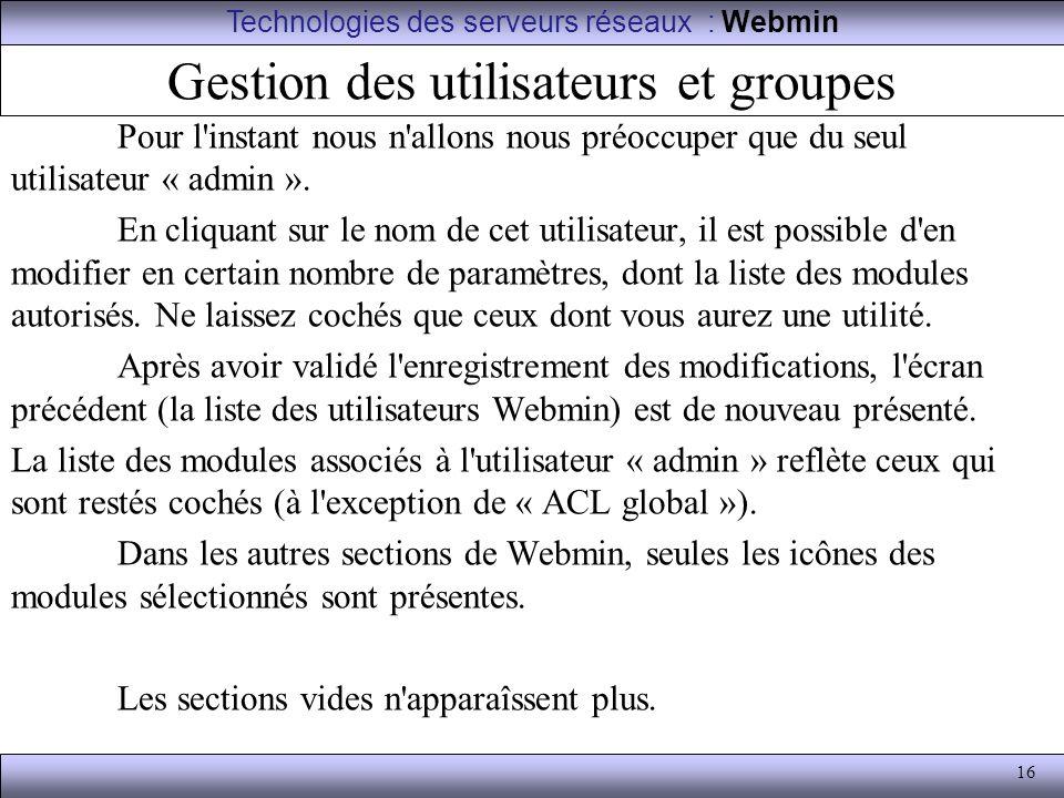Gestion des utilisateurs et groupes