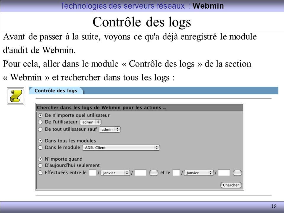 Technologies des serveurs réseaux : Webmin
