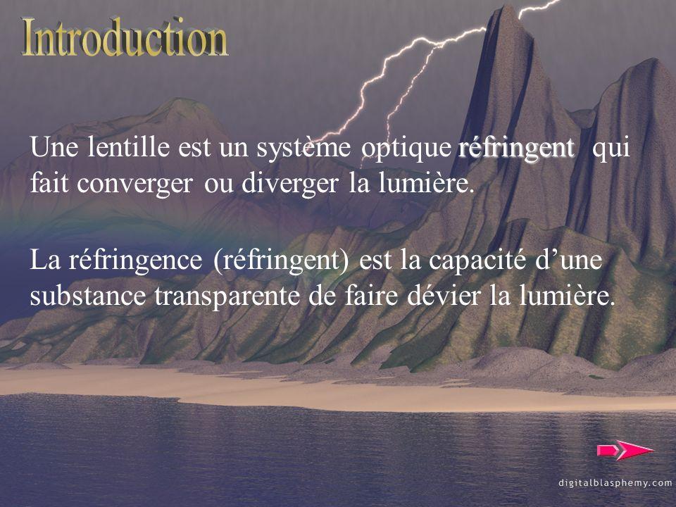 Introduction Une lentille est un système optique réfringent qui fait converger ou diverger la lumière.