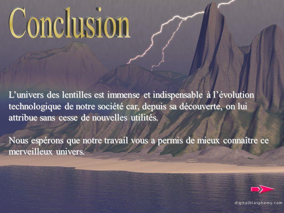 Conclusion L'univers des lentilles est immense et indispensable à l'évolution.