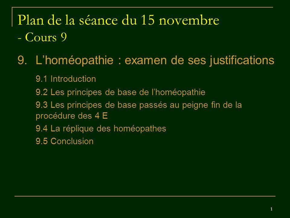 Plan de la séance du 15 novembre - Cours 9