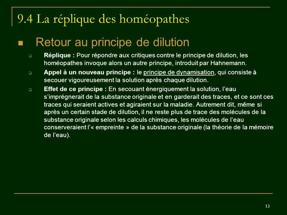 9.4 La réplique des homéopathes
