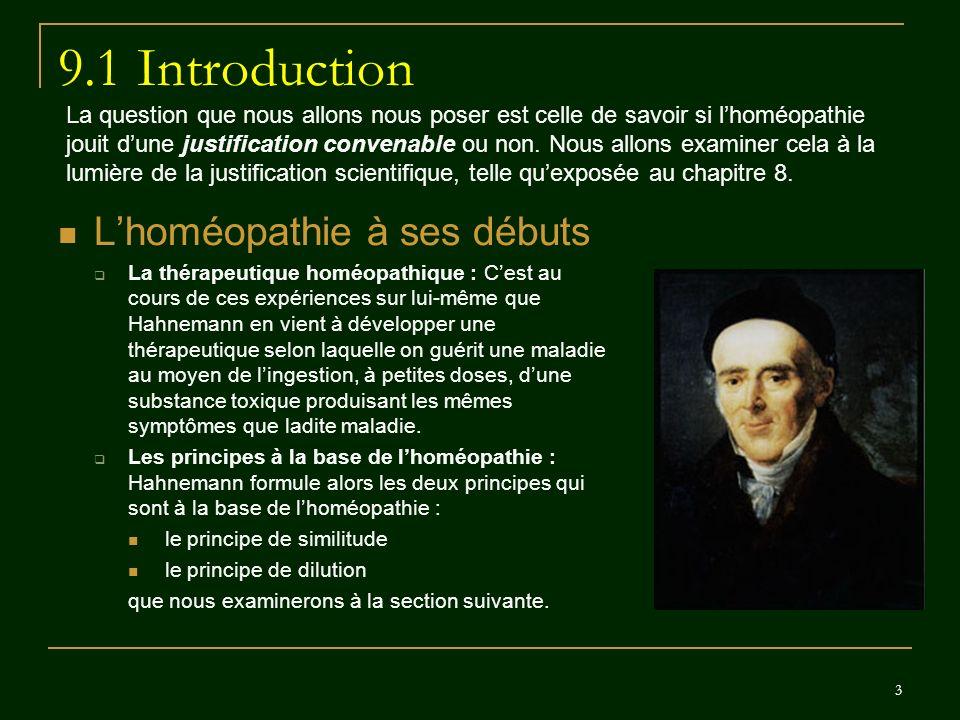 9.1 Introduction L'homéopathie à ses débuts
