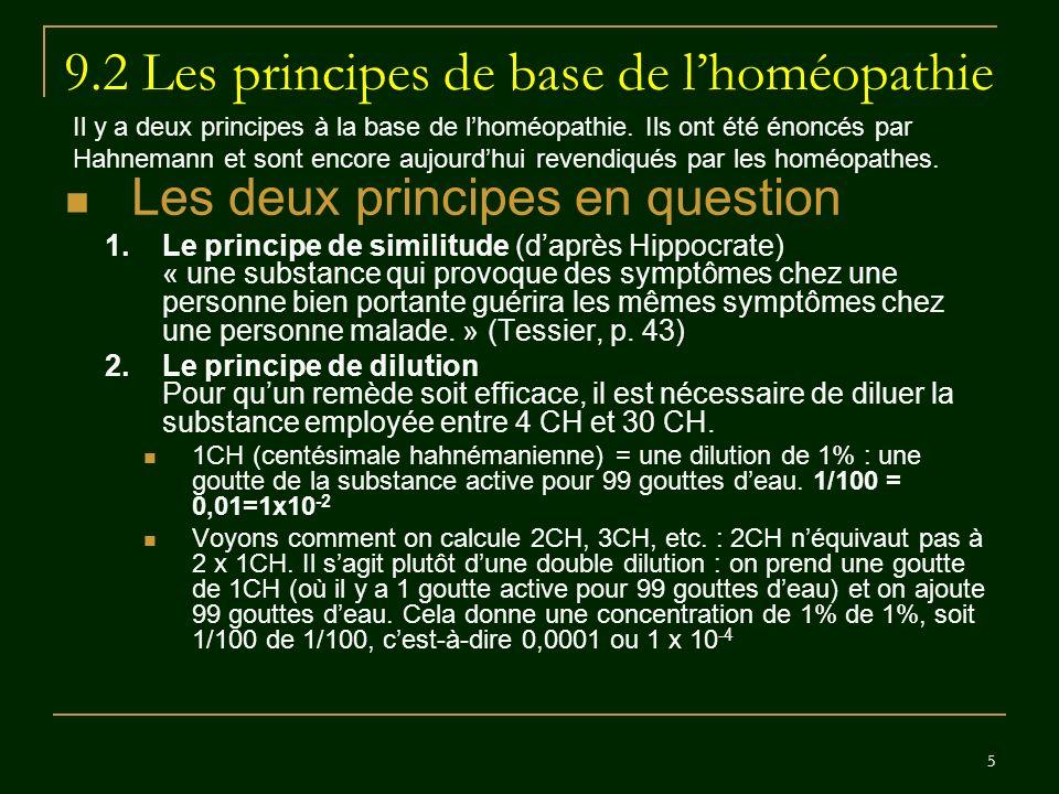 9.2 Les principes de base de l'homéopathie