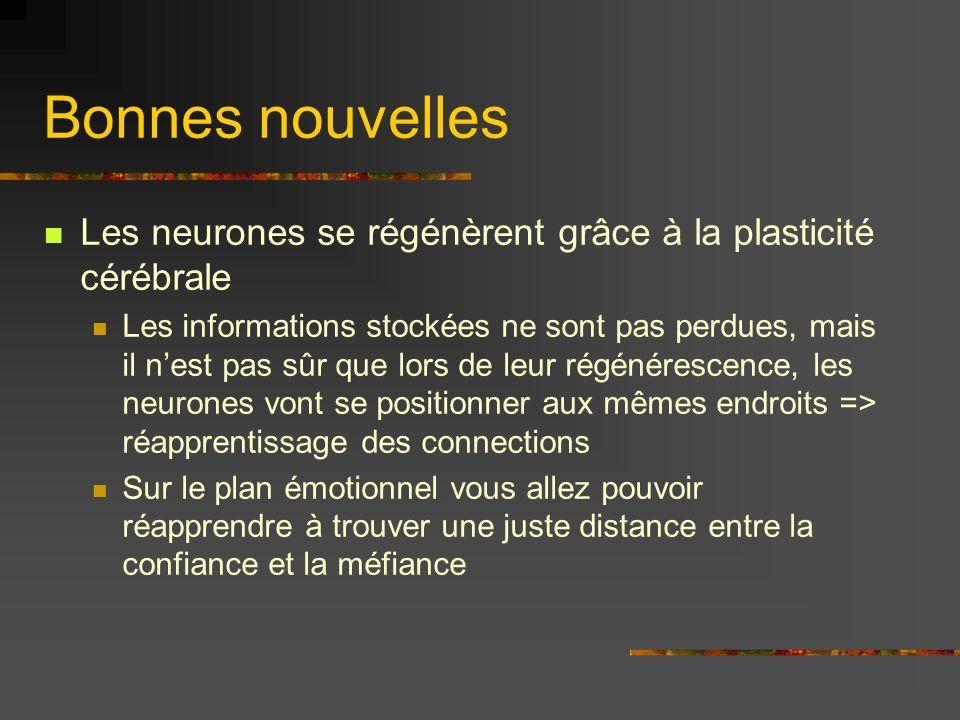 Bonnes nouvelles Les neurones se régénèrent grâce à la plasticité cérébrale.