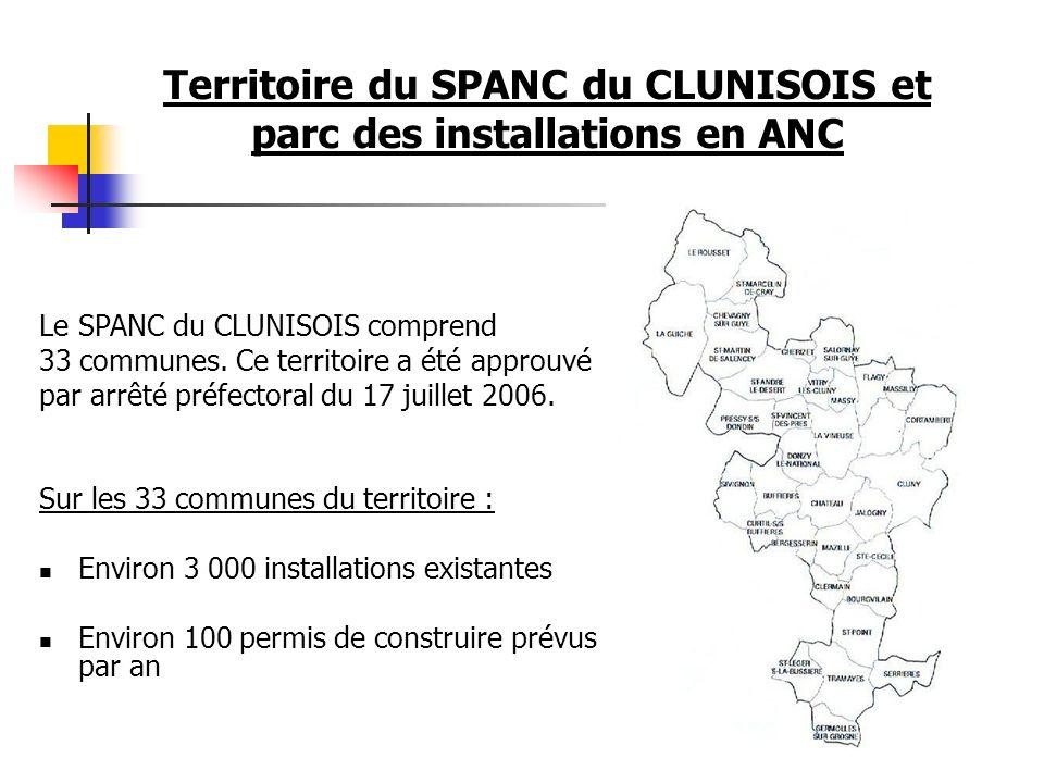 Territoire du SPANC du CLUNISOIS et parc des installations en ANC