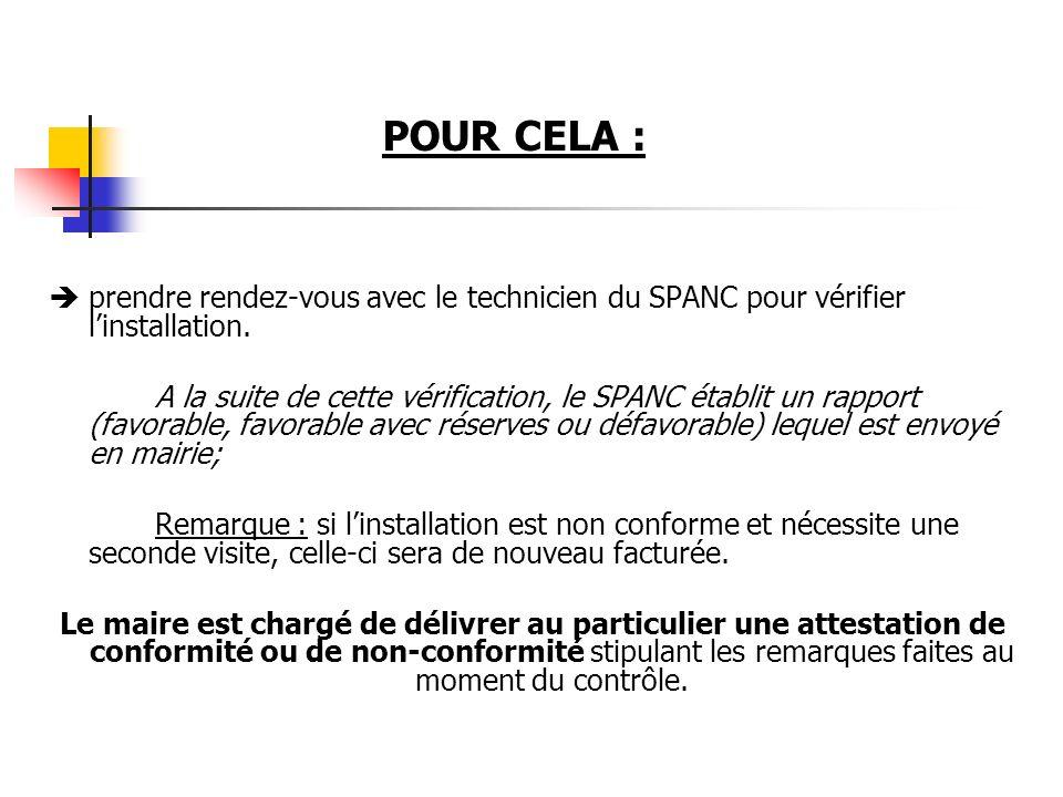 POUR CELA : prendre rendez-vous avec le technicien du SPANC pour vérifier l'installation.