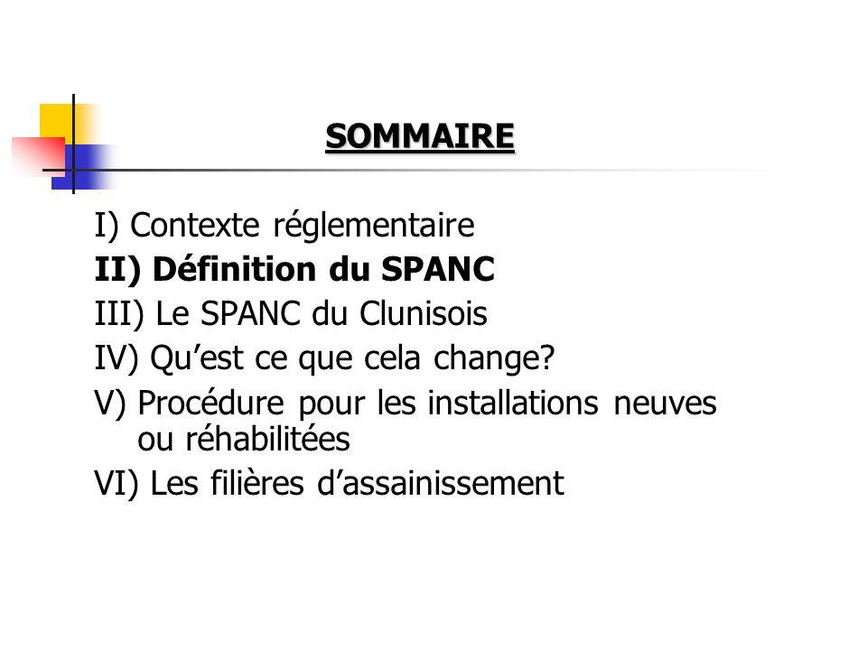 SOMMAIRE I) Contexte réglementaire. II) Définition du SPANC. III) Le SPANC du Clunisois. IV) Qu'est ce que cela change