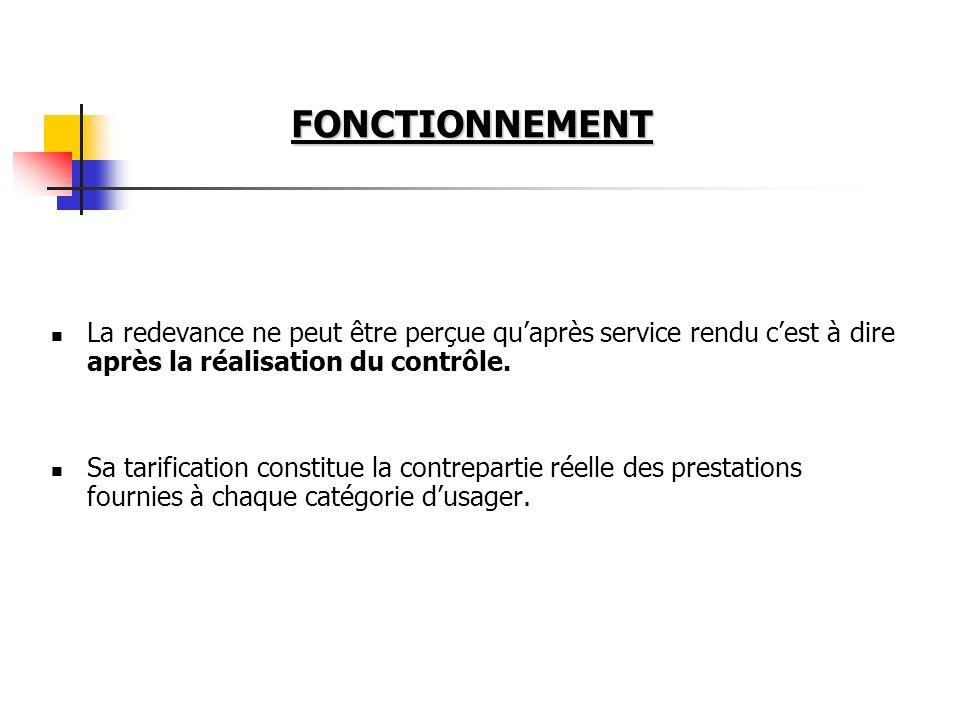 FONCTIONNEMENT La redevance ne peut être perçue qu'après service rendu c'est à dire après la réalisation du contrôle.