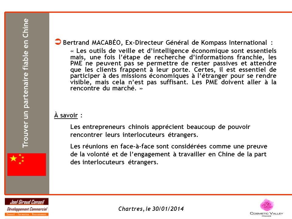  Bertrand MACABÉO, Ex-Directeur Général de Kompass International :
