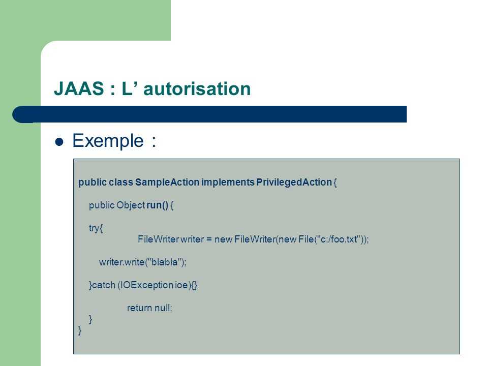 JAAS : L' autorisation Exemple :