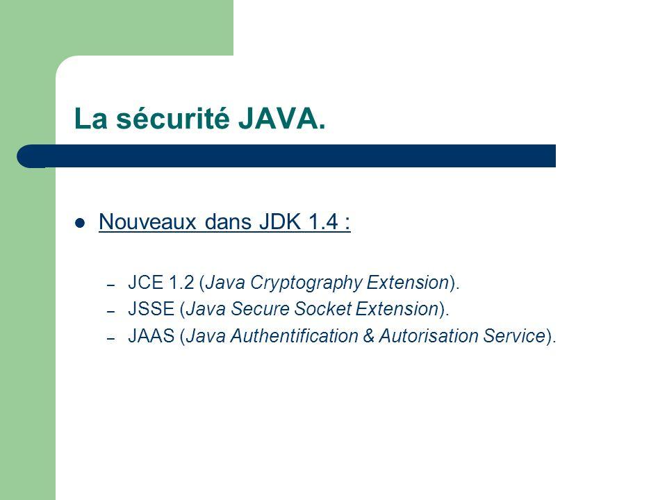 La sécurité JAVA. Nouveaux dans JDK 1.4 :