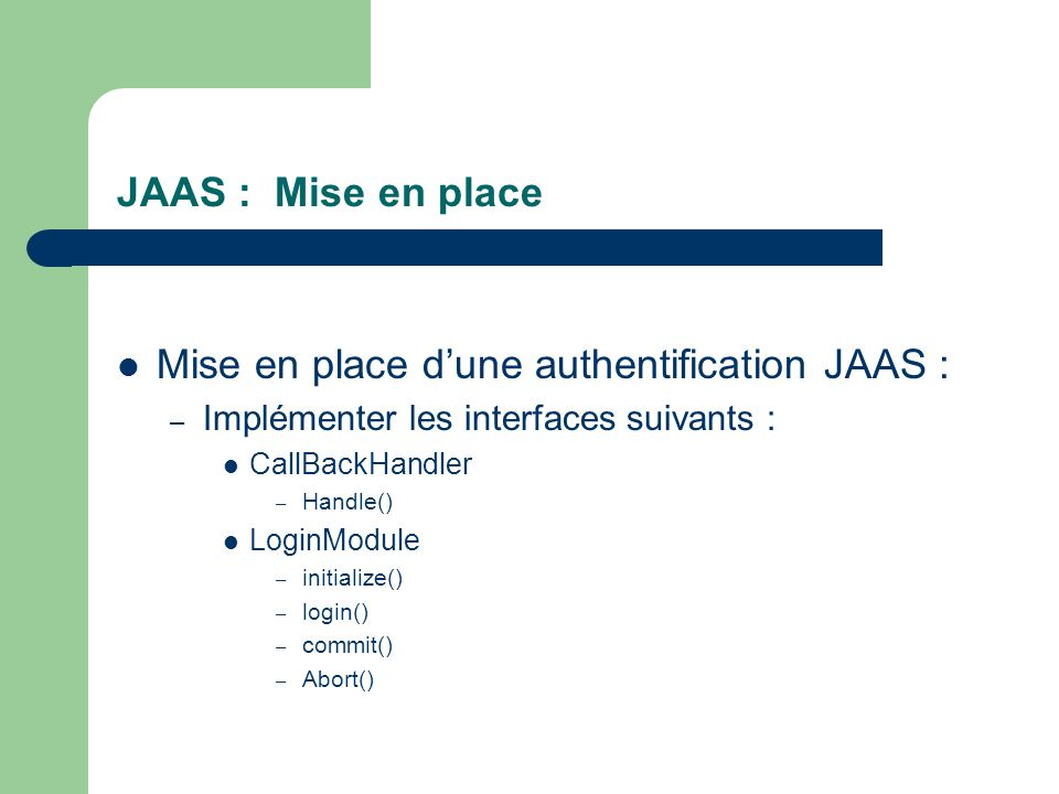Mise en place d'une authentification JAAS :