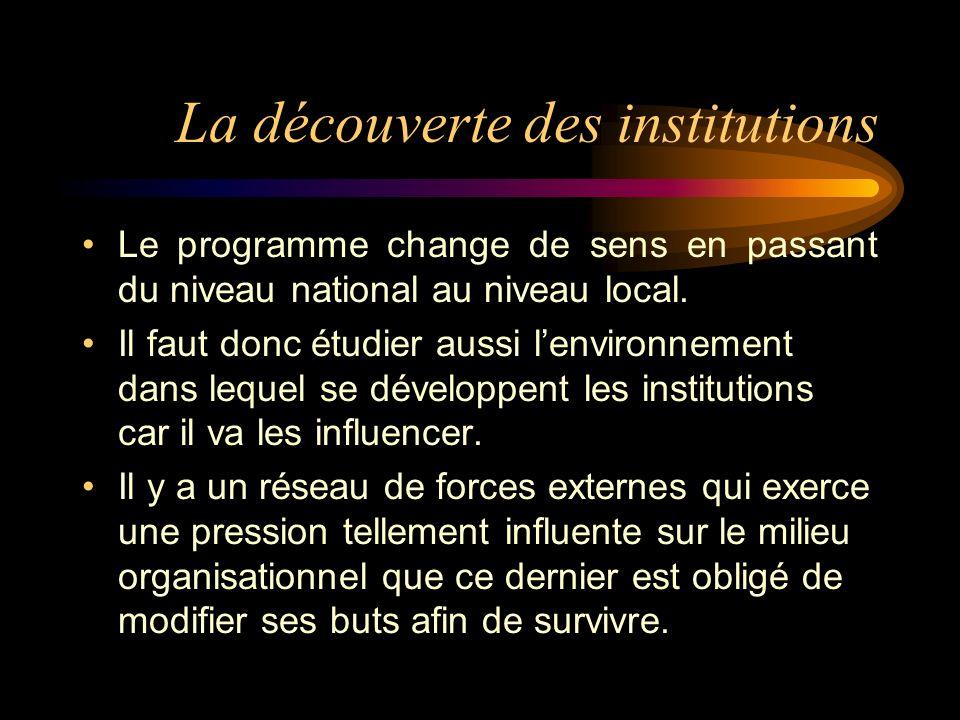 La découverte des institutions