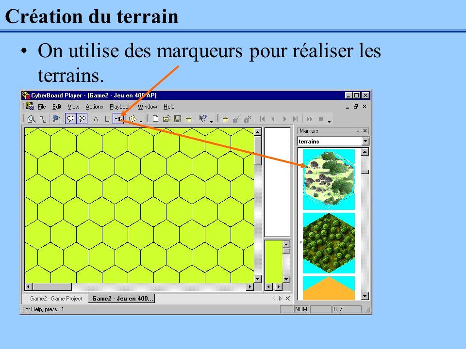 Création du terrain On utilise des marqueurs pour réaliser les terrains.
