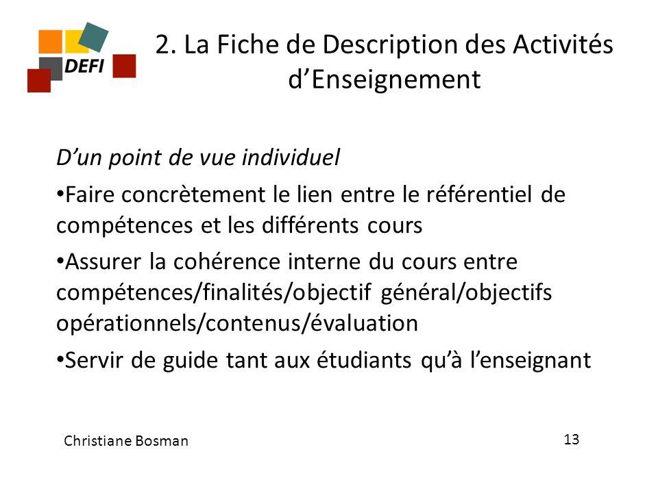 2. La Fiche de Description des Activités d'Enseignement