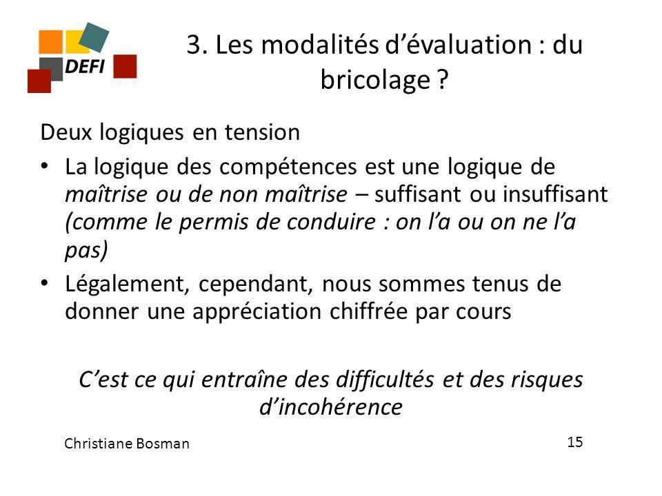 3. Les modalités d'évaluation : du bricolage