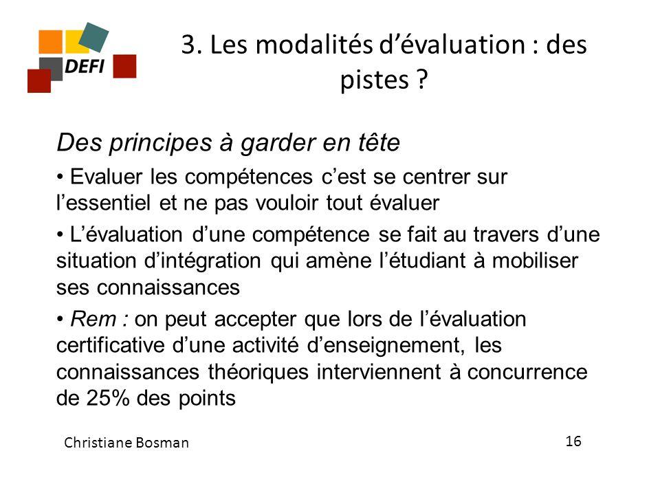 3. Les modalités d'évaluation : des pistes