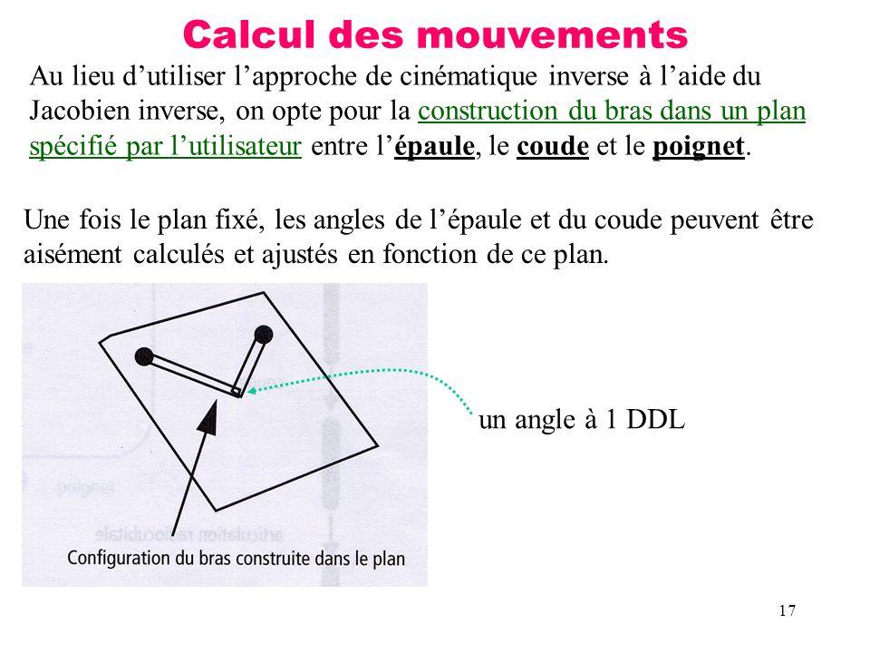 Calcul des mouvements Au lieu d'utiliser l'approche de cinématique inverse à l'aide du.