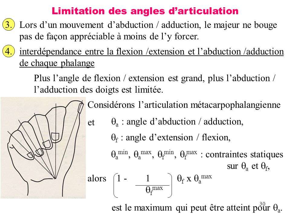 Limitation des angles d'articulation