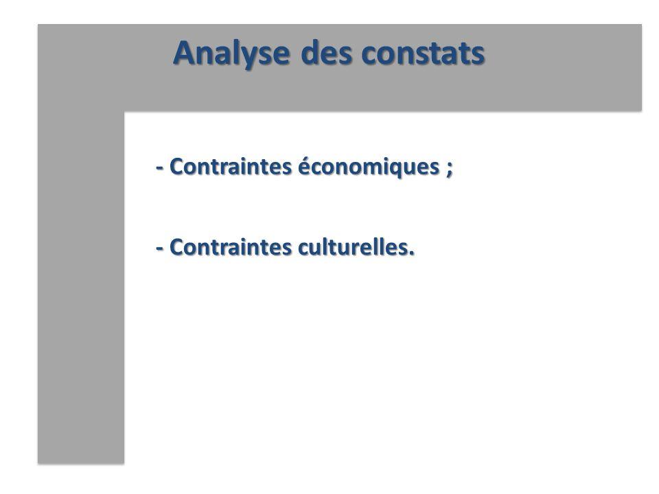 Analyse des constats - Contraintes économiques ;