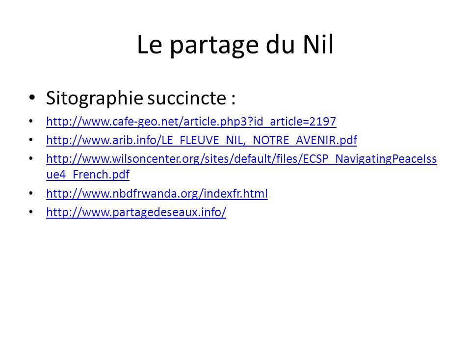 Le partage du Nil Sitographie succincte :
