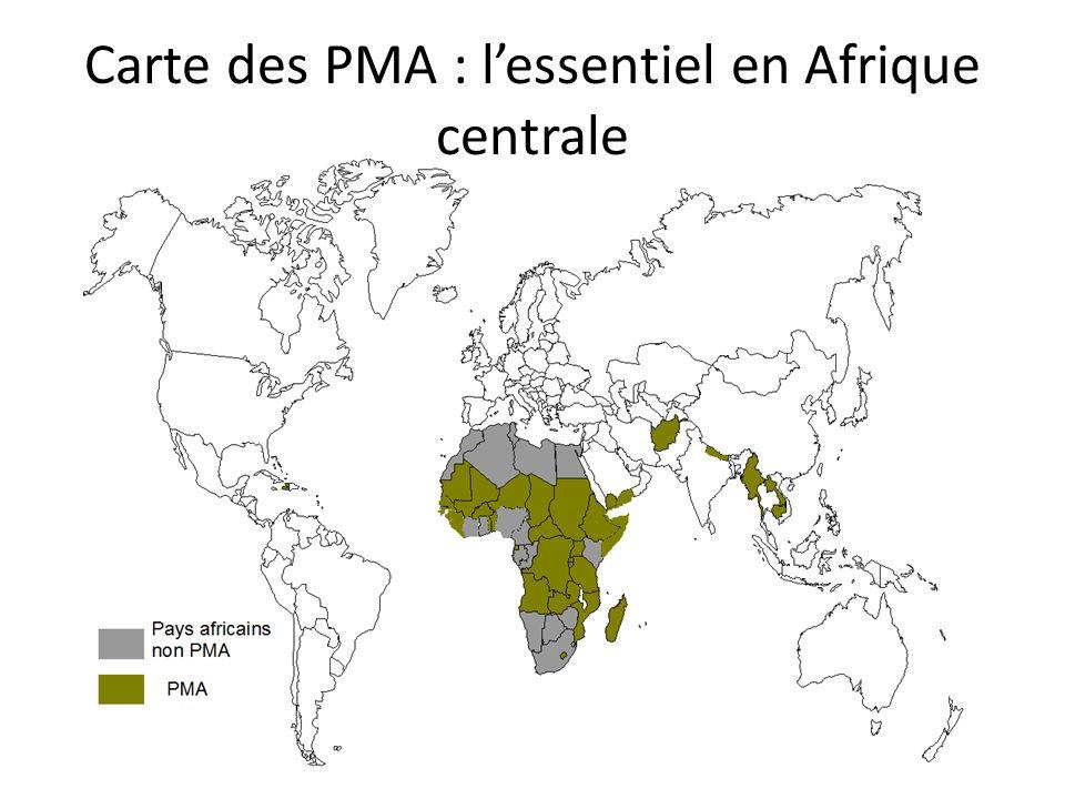 Carte des PMA : l'essentiel en Afrique centrale