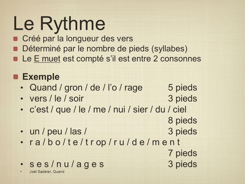 Le Rythme Exemple Quand / gron / de / l'o / rage 5 pieds