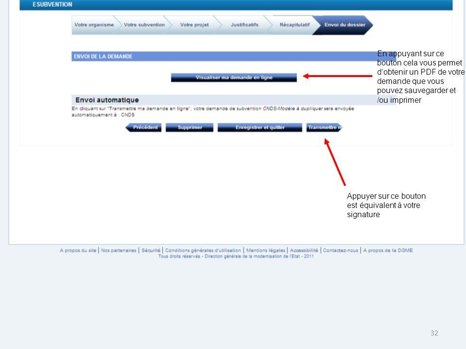 En appuyant sur ce bouton cela vous permet d'obtenir un PDF de votre demande que vous pouvez sauvegarder et /ou imprimer