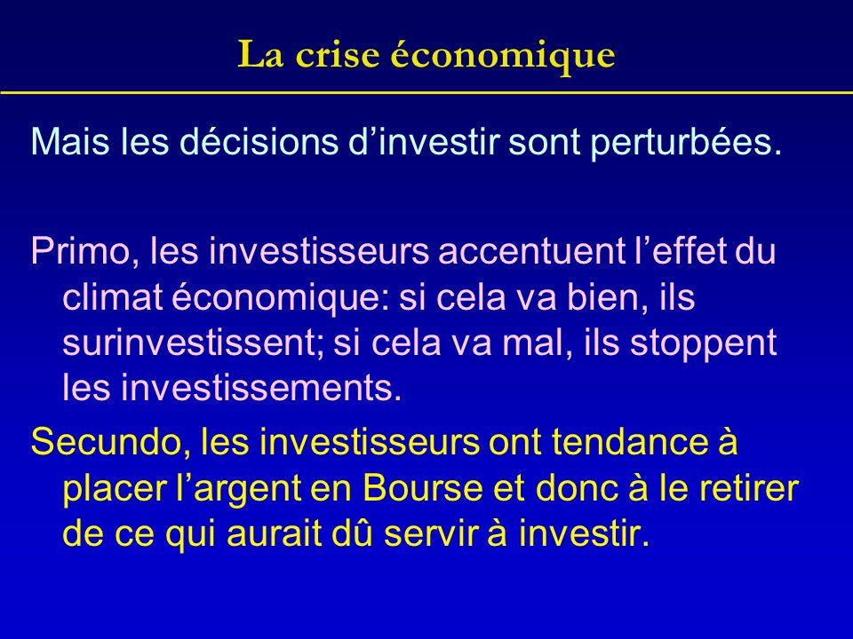 La crise économique Mais les décisions d'investir sont perturbées.