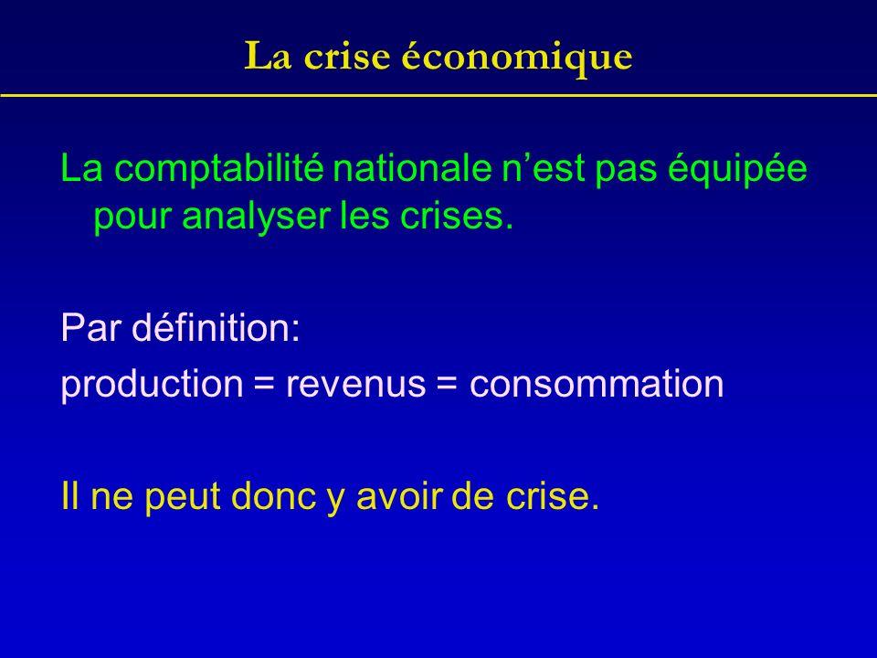 La crise économique La comptabilité nationale n'est pas équipée pour analyser les crises. Par définition: