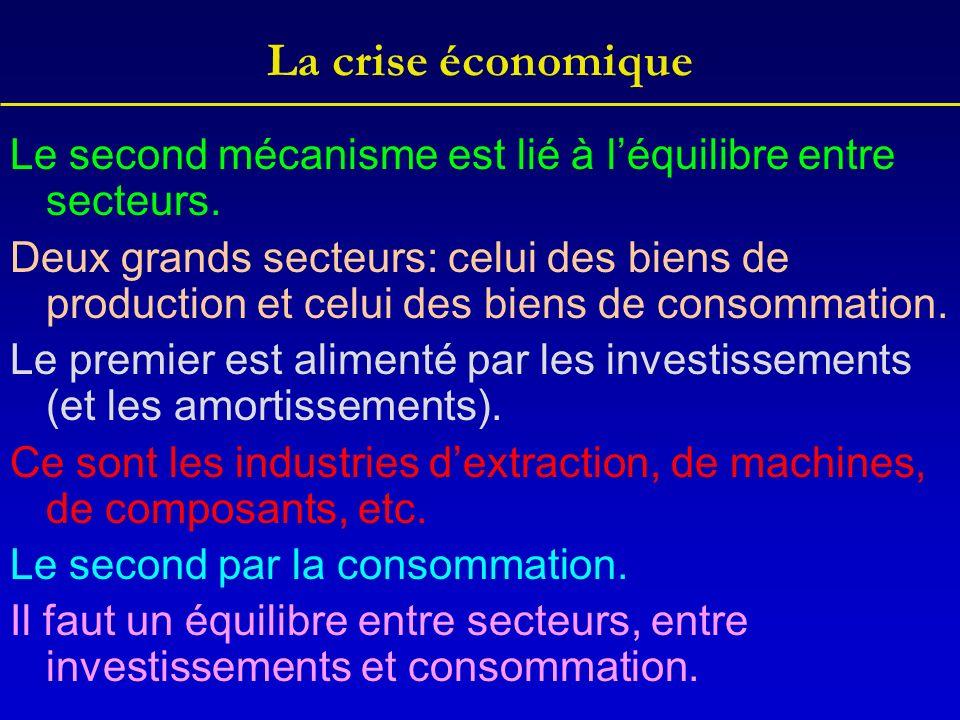 La crise économique Le second mécanisme est lié à l'équilibre entre secteurs.
