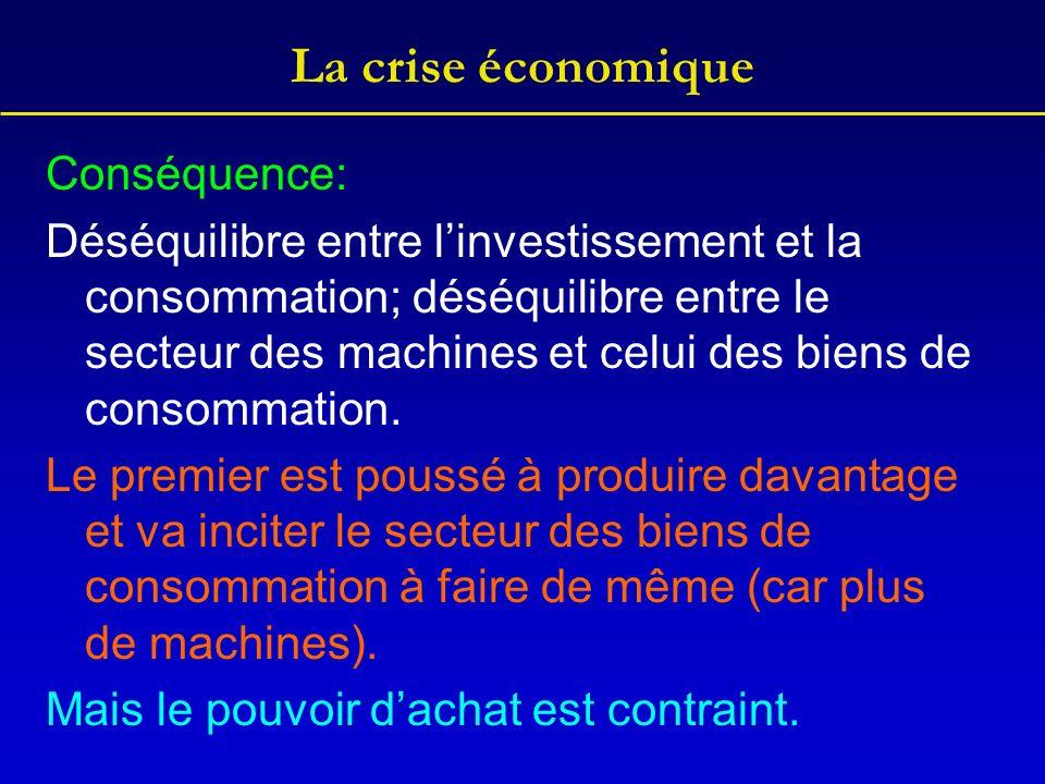 La crise économique Conséquence: