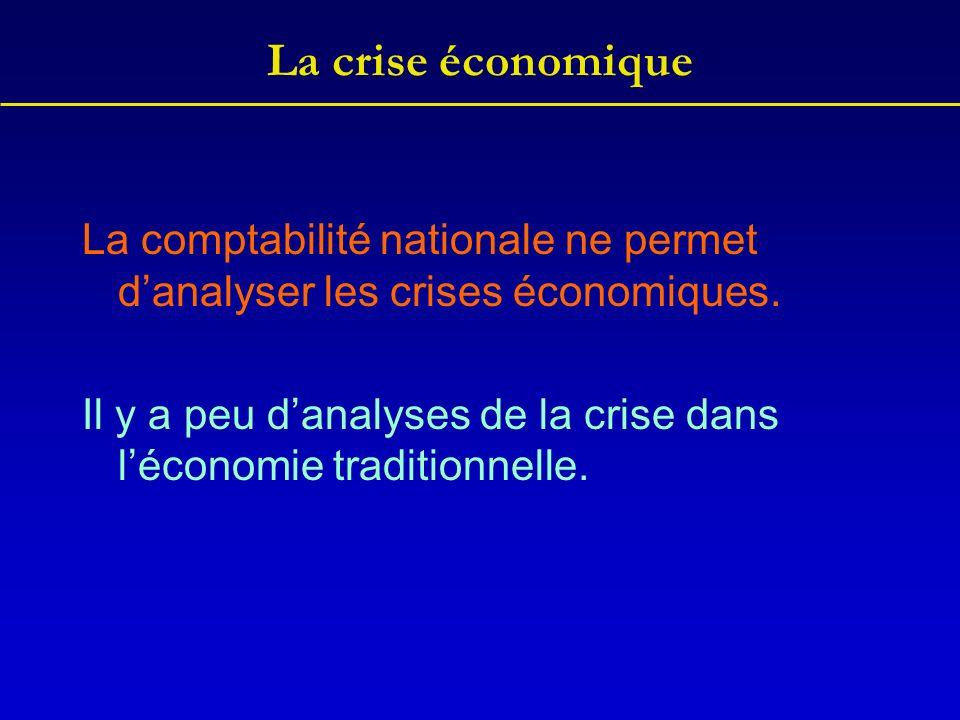 La crise économique La comptabilité nationale ne permet d'analyser les crises économiques.