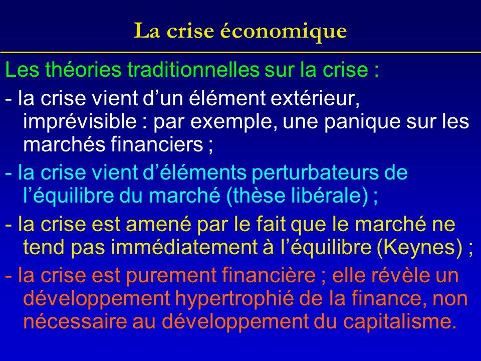 La crise économique Les théories traditionnelles sur la crise :