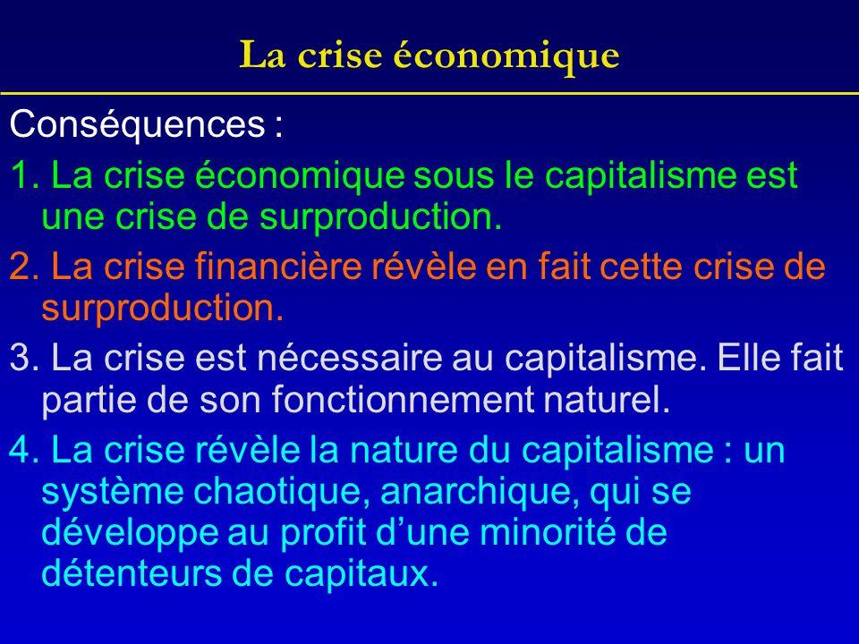 La crise économique Conséquences :